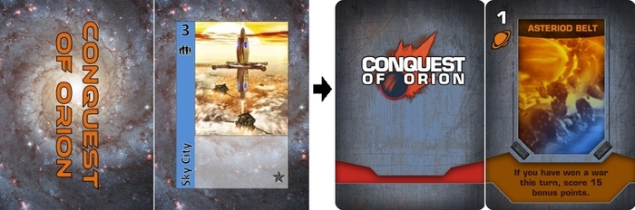 Prototype Colony card shown on left. Rendition of final product of Planet card on right.