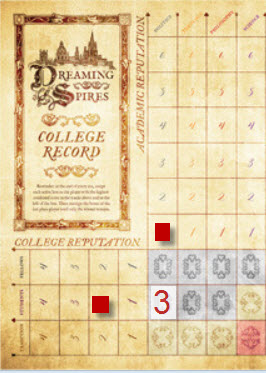 Red has one point in Politics and Two in Students, netting 3 for the square. (Prototype Shown.)