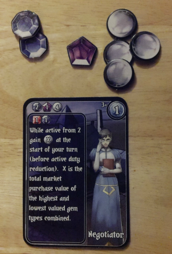 The Negotiator requires 2 Sapphires, 1 Amethyst and 4 Silver to Purchase. When played later it'll require a Ruby and a Sapphire, and it'll stay out as an Active Worker. It's also worth 1 VP at the end of the game.