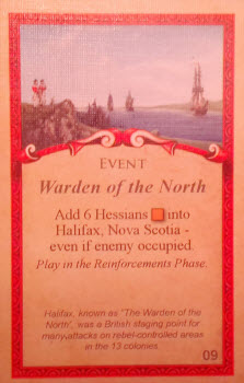 A British Event card, complete with historical footnote.