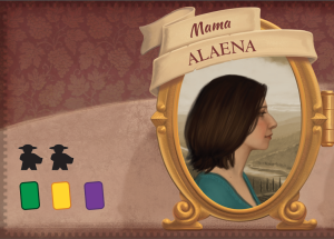 Mama gives players two of their three workers, a Vine, a Summer Worker, and a Wine Order. Prototype Shown
