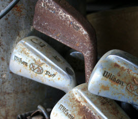 I claim this rusty golf club. What? It could come in handy!