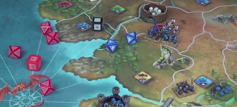 White Player defending the moors from Blue. Prototype Shown