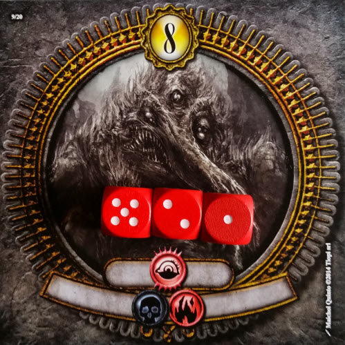 Red uses their dice sum of 8 on the 8 space.