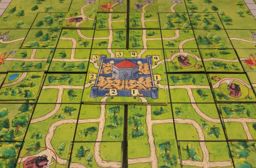 A few turns in to a game of The Kingswood. Prototype Shown