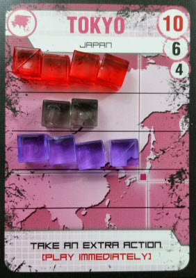Purple put four cubes  down, bringing the total to 10 and the downfall of Tokyo.