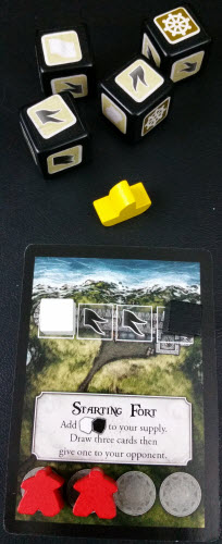 Yellow uses their White die result to remove one cube from Red's fort, then collects 2 Gray dice as reinforcements. The Fort stands with 1 Black cube.