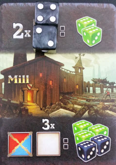Taking this Mill action has the player sacrifice two Metal dice for two Wood dice.