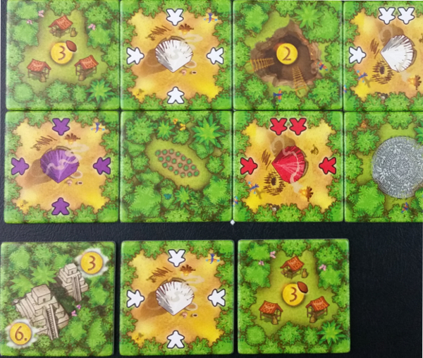 White places their Worker tile, activating the plantation tile once. Then since each adjacent space contain 2 Worker tiles, they add a Jungle tile to each.