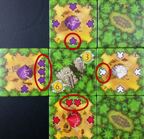 At game's end, Purple collects 6 gold for having the most workers at this time. Red, at second, gets 3. White gets none.