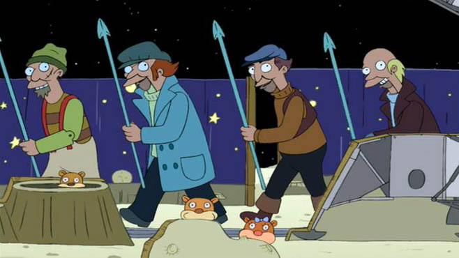 We're whalers on the Moon. We carry a harpoon...