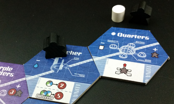 The Quarters cost 1 Air and is on the tube line for a Meeplenaut. Prototype Shown