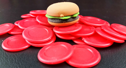 First player burger and Humiliation tokens