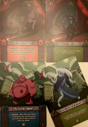 Here the Banshee will either let you return your own Familiar or your opponent's Ghoul. Win-win really. Prototype Shown