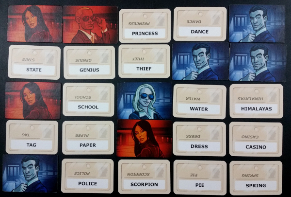 Codenames in action. Currently Blue is leading 5 to 4