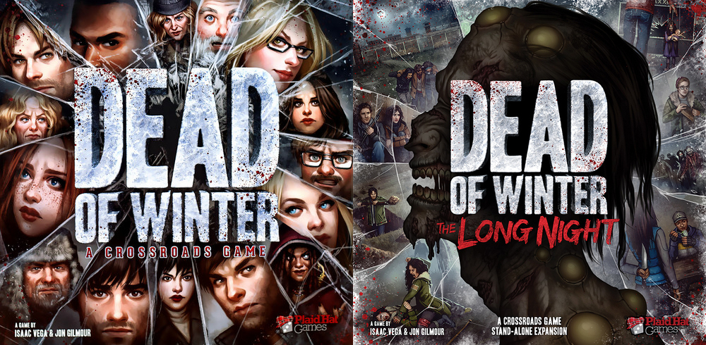 A comparison of the Dead of Winter base game and expansion box covers.