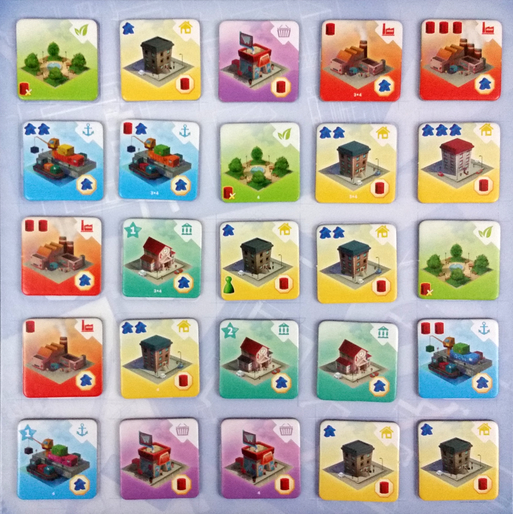 A typical central board layout in a four player game