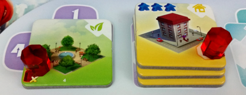 At the end of the game the Park scores 2 points for adjacency to the towers. The (activated) Tower scores 6 points based on floor size.