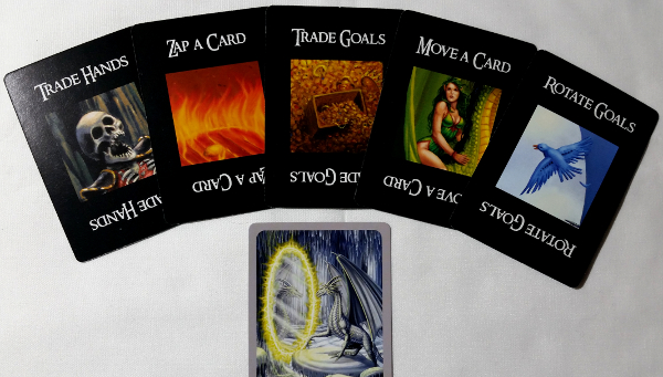The five possible Action cards in the game, and the poor Silver dragon stuck at their whim